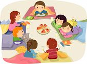stock photo of slumber party  - Stickman Illustration Featuring Kids Chatting While Eating at a Sleepover - JPG