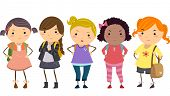 stock photo of misbehaving  - Stickman Illustration Featuring a Group of Young Female Bullies - JPG