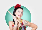 pic of rockabilly  - Portrait of a beautiful rockabilly girl with stylish hair and make - JPG