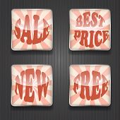 foto of std  - 4 vector shiny sale icons transparency effects fully editable eps 10 filetext based on standard AI font Cooper std - JPG