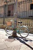 image of calatrava  - Bike parked in front of the stairs of College of the Immaculate Conception commonly called Calatrava College Salamanca - JPG