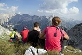 stock photo of incredible  - Hiking at incredible and extreme Albanian Alps - JPG
