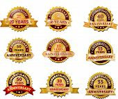 foto of rosettes  - Art design decor	Anniversary gold badge set vector - JPG