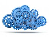 pic of teamwork  - Cloud computing from gears on white isolated background - JPG