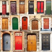 image of front-entry  - A collage of 15 different European front entrance doors from the town of Bruges in Belgium - JPG