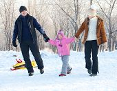 pic of sled  - Family walking in a winter park - JPG