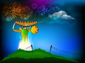 Indian festival Dussehra background with illustration of Ravana with his ten heads in fireworks nigh