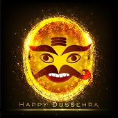 stock photo of ravana  - Indian festival Happy Dussehra background with shiny illustration of a smiling Ravana - JPG