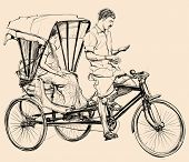 picture of rickshaw  - Vector illustration of an indian rickshaw - JPG