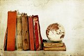 Old books and globe earth