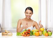 stock photo of burger  - healthy and junk food concept  - JPG