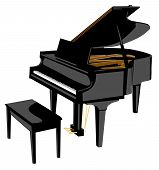 pic of grand piano  - piano illustration - JPG