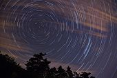 star trails with Polaris in the center