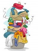 picture of dirty-laundry  - Illustration of a Pile of Dirty and Stinky Laundry with Flies Flying Around - JPG