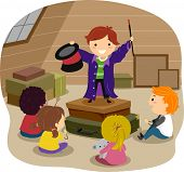 stock photo of attic  - Stickman Illustration Featuring a Boy Performing Magic Tricks in an Attic - JPG