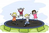 image of playmates  - Doodle Illustration of Kids Playing with a Trampoline - JPG