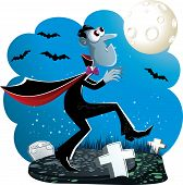 stock photo of creeping  - Vector illustration of Dracula creeping in the cemetery at night - JPG
