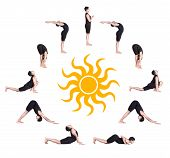 image of salute  - Indian man in black costume doing ten steps of surya namaskar sun salutation Exercise at white background with the sun in the center - JPG