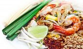 stock photo of rice noodles  - Pad thai Stir Fry Rice Noodles With Prawn Famous Thai Food - JPG
