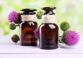 stock photo of scottish thistle  - Medicine bottles with thistle flowers on nature background - JPG