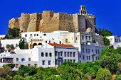 foto of greek-island  - view of Monastery of st - JPG