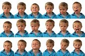 stock photo of coy  - A five year old boy posing for 16 different facial expressions - JPG