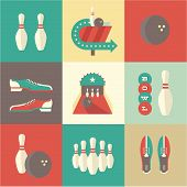 pic of indoor games  - Vector vintage bowling icons - JPG