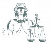 picture of judiciary  - Vector illustration of a symbol of justice and law - JPG