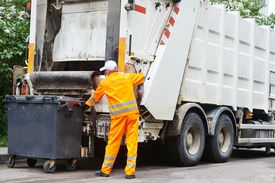 pic of recycle bin  - Worker of urban municipal recycling garbage collector truck loading waste and trash bin - JPG