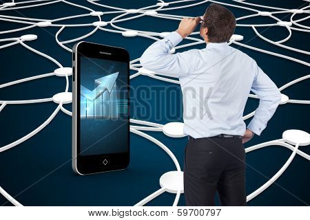 Thinking businessman tilting glasses against shiny lines on black background