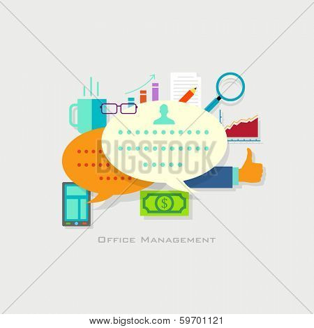illustration of office management concept with businessman in flat style