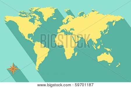 illustration of world map diagram in flat color