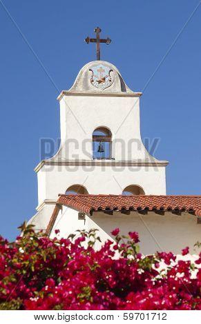 White Adobe Mission Santa Barbara Cross Bell Bougainvillea California