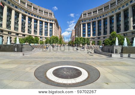 WASHINGTON, D.C. - SEPT 08, 2012: U.S. Navy Memorial honors those who have served in the Navy, Marine Corps, Coast Guard, and the Merchant Marine. It is also main tourist attraction in Washington, DC