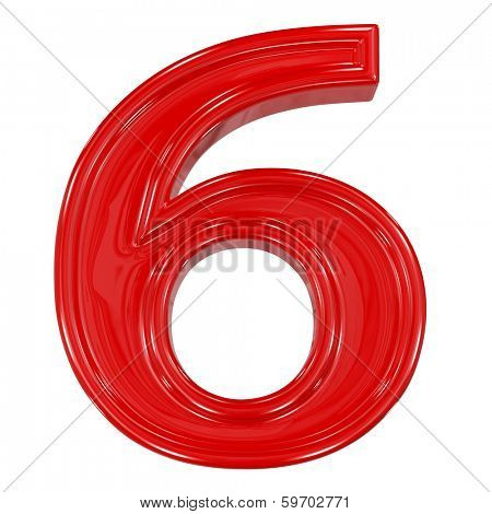 3d shiny red font made of plastic or ceramic - figure number six. Isolated on white.