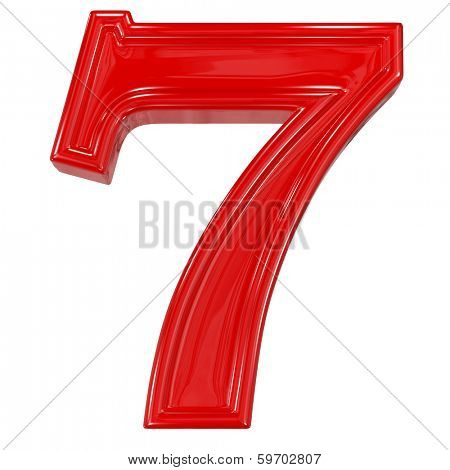 3d shiny red font made of plastic or ceramic - figure number seven. Isolated on white.