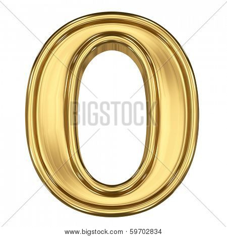 3d brushed golden symbol - figure number zero. Isolated on white.