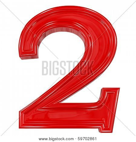 3d shiny red font made of plastic or ceramic - figure number two. Isolated on white.