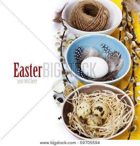 Easter still life of quail eggs and willow branches (with easy removable text)
