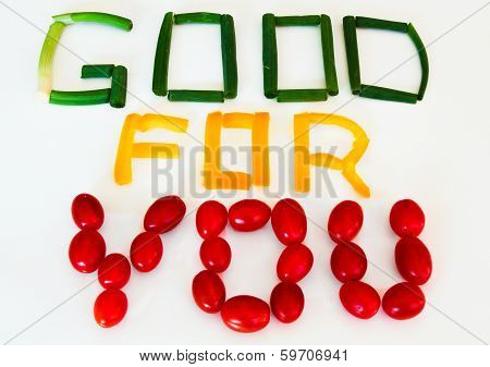 Good for You sign: scallions, yellow pepper, grape tomatoes
