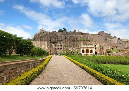 View of  historic Golkonda fort in Hyderabad, India