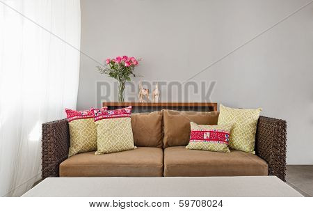 Beige Brown Sofa In Interior Setting