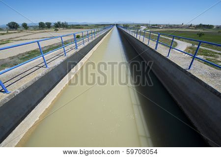 view of a huge irrigation canal built in concrete, Tardienta, Huesca, Aragon, Spain