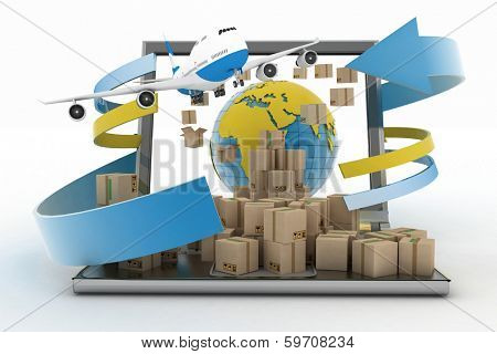 Cardboard boxes around the globe on a laptop screen and airplane. Concept of online goods orders worldwide