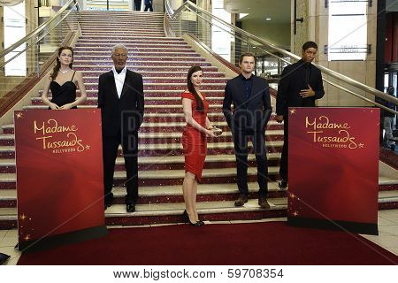 LOS ANGELES - FEB 13: Angelina Jolie, Morgan Freeman, Sandra Bullock, Leonardo DiCaprio, Denzel Washington wax figures as Sandra Bullock wax figure is unveiled on February 13, 2014 in Los Angeles, CA.