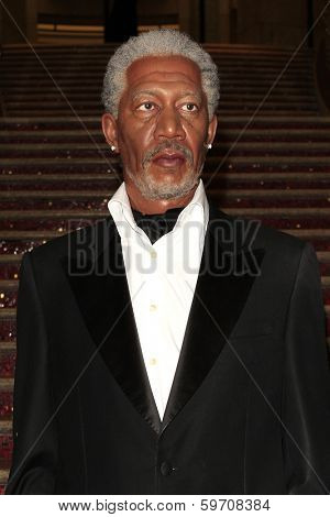 LOS ANGELES - FEB 13: Morgan Freeman, wax figure at the unveiling of a new Sandra Bullock wax figure by Madame Tussauds at Hollywood & Highland on February 13, 2014 in Los Angeles, CA.