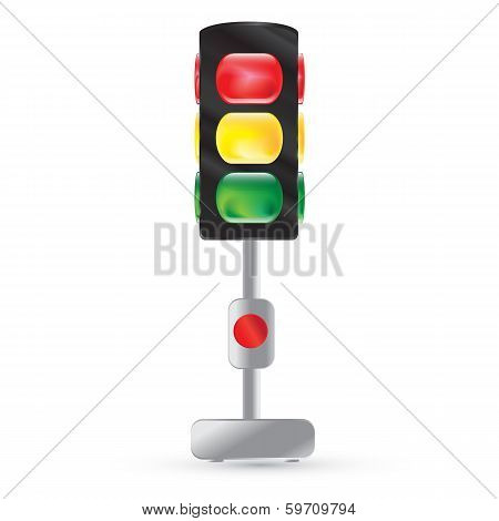 Traffic Light Painted On A White Background