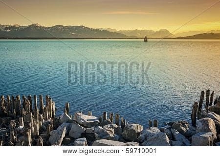 An image of the alps by night at Lake Constance