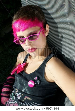 Pink Young Girl With Sunglasses