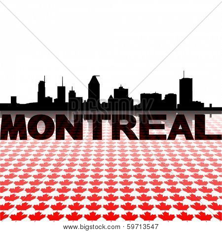 Montreal skyline with maple leaves foreground vector illustration